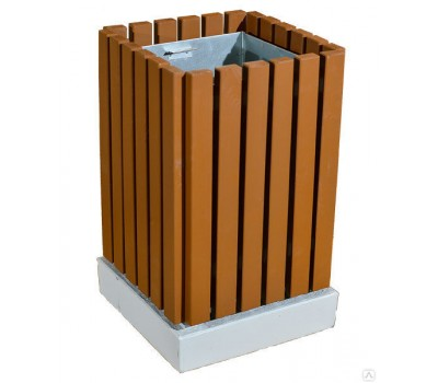 Урна деревянная на бетонном основании UB-029a