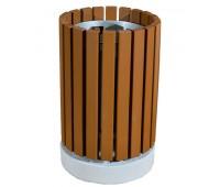 Урна деревянная на бетонном основании UB-023a