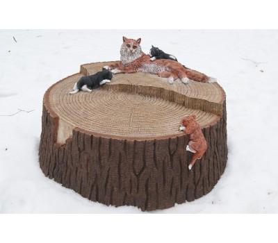 Декоративная крышка для люка «Пень c кошкой » FS-023