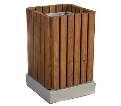 Урна деревянная четырёхгранная на бетонном основании UB-029a